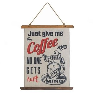 NEW GIVE ME COFFEE LINEN WALL ART